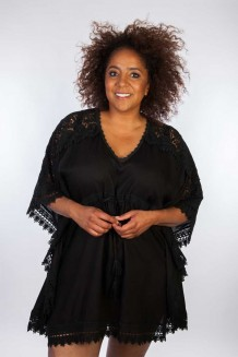 Kaftan Dresskini Resort Solid Black Lace