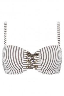 Voorgevormde bandeau bikini top Beachlife Taupe Stripe