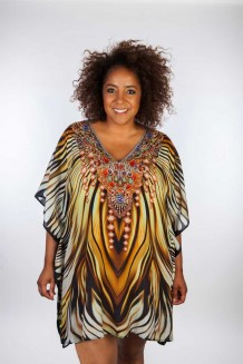 Kaftan Dresskini Resort Brown Flames