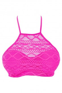 High neck bikini top Freya Sundance fuchsia